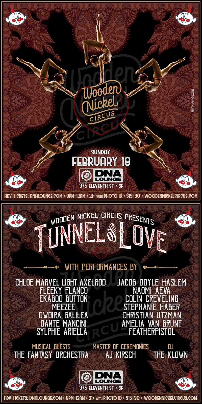 Wooden Nickel Circus presents Tunnel of Love - February 18, 2018 - DNA Lounge in San Francisco
